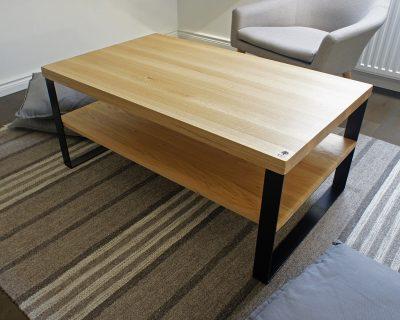 stolik kawowy, stolik, drewno dębowe, stal, czarny, loft, industrial, meble loftowe